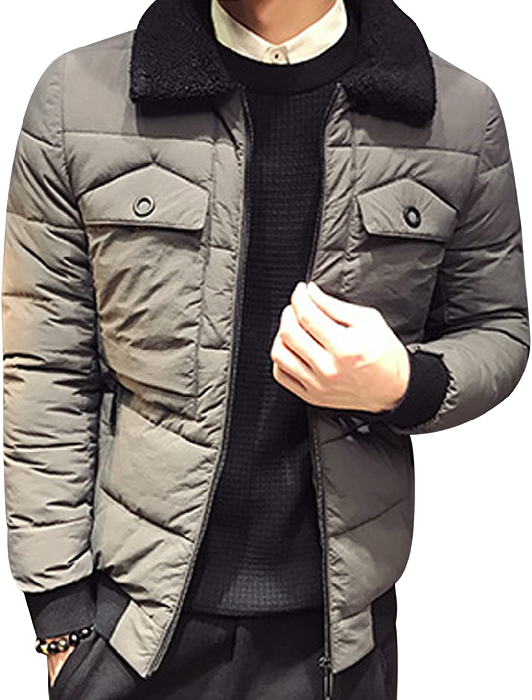 Tanming Mens Fur Collar Zipper Outerwear Quilted Padding Jackets