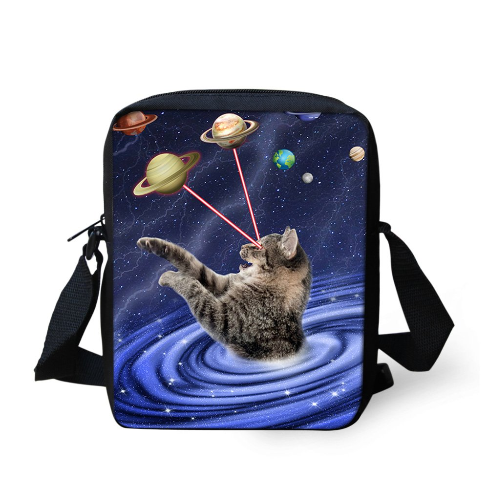Sannovo Galaxy Cat Animal School Bag Boy Small Messenger Satchel Mini Coin Purse