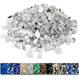 Grisun Ultra White Fire Glass for Fire Pit, 9.5 Pounds 1/2 Inch High Luster Reflective Tempered Glass Rocks for Natural or Pr
