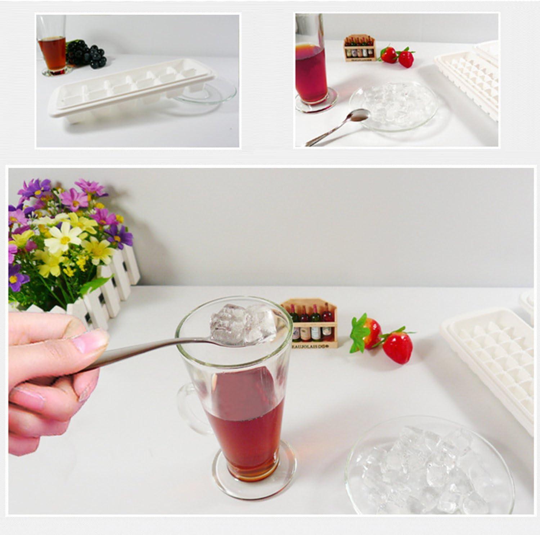 Hicyct creative conveniente bianco plastica cubetti di ghiaccio? LFGB certificato Ice Cube Tray stampi con coperchio antigoccia cocktail e altre bevande. migliore per acqua 12-Icetray