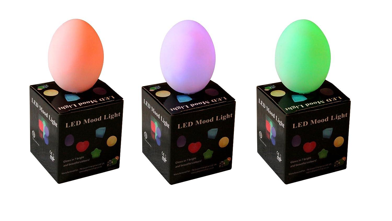 Mood Light LED Sensory Night Lamp - Battery Operated Colour Changing LED Egg Mood Lighting for Kids, Bedroom by PK Green LED_EGG