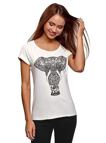 oodji Ultra Mujer Camiseta de Viscosa con Estampado y Pedrería