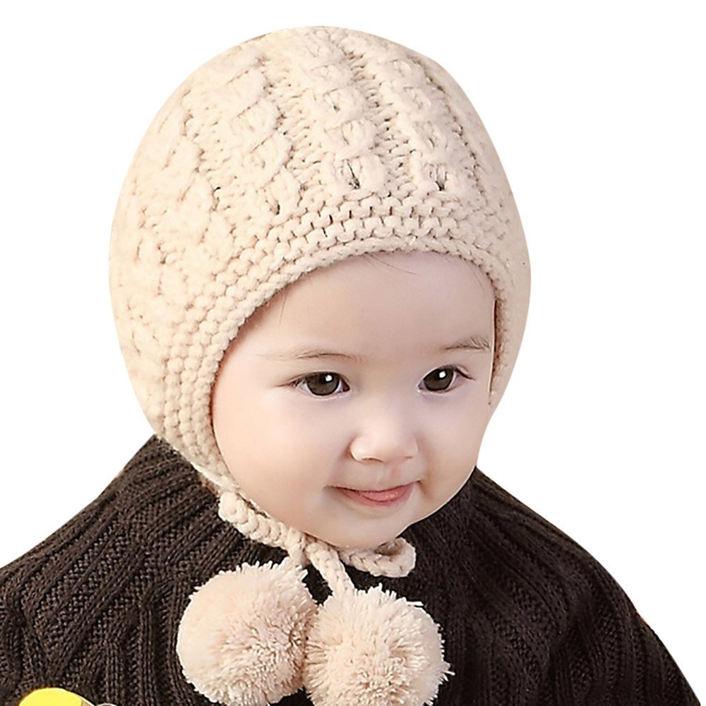 Baby Hat,AutumnFall Toddler Boys Girls Earflaps Knited Winter Warm Ball Cap Gift