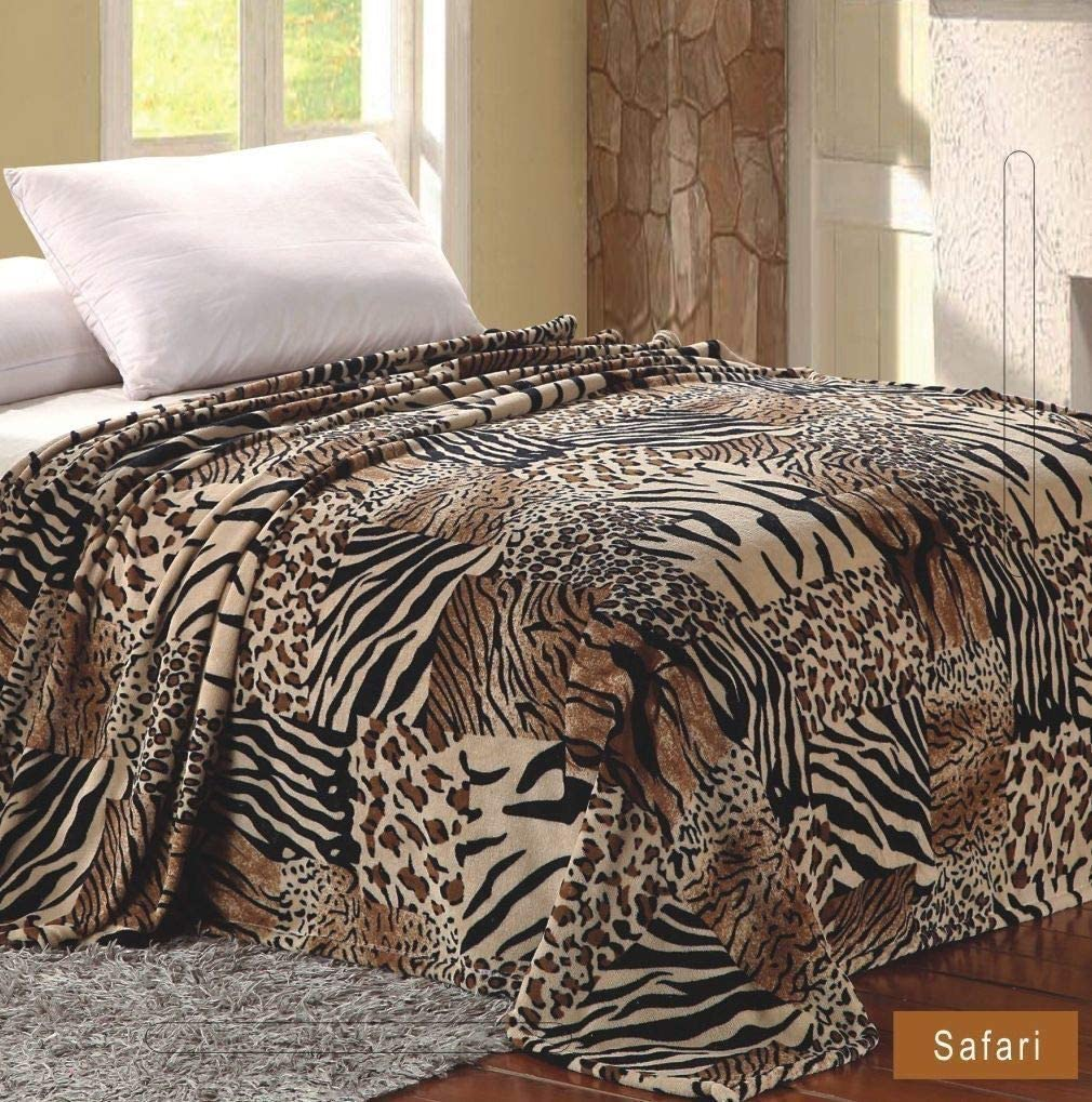 Full Size Home Must Haves Queen Ultra Soft Micro Plush Luxurious Flannel Fur All Season Premium Bed Blanket Safari Print, 80 x 80, Inches Multicolor