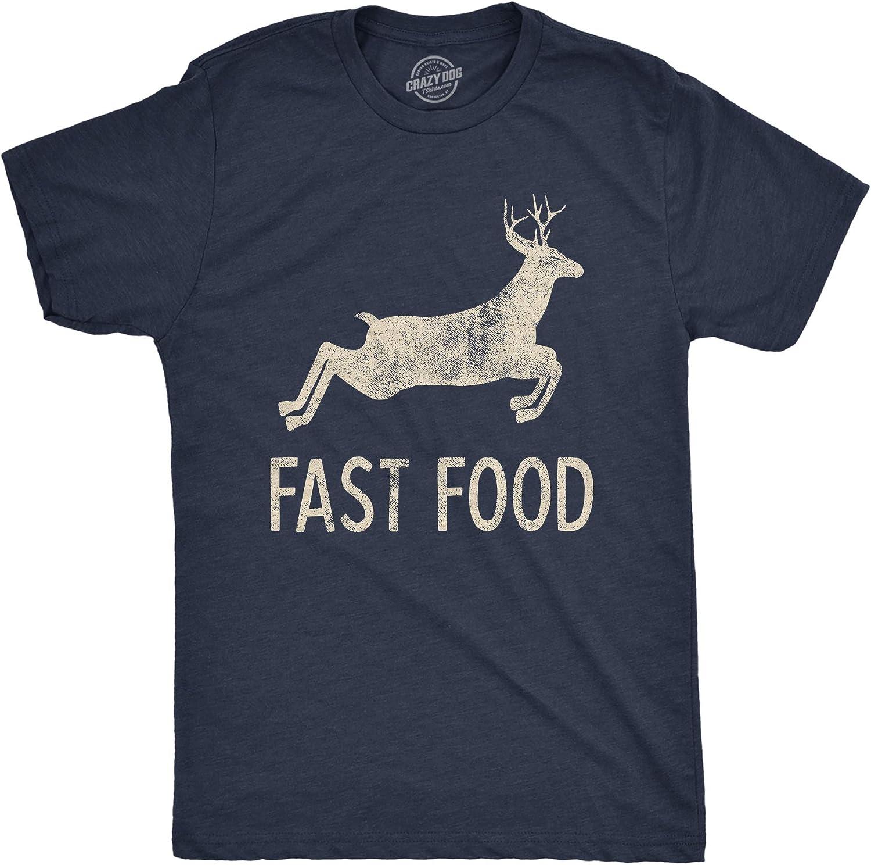 Mens Fast Food Tshirt Funny Deer Hunting Season Novelty Graphic Tee