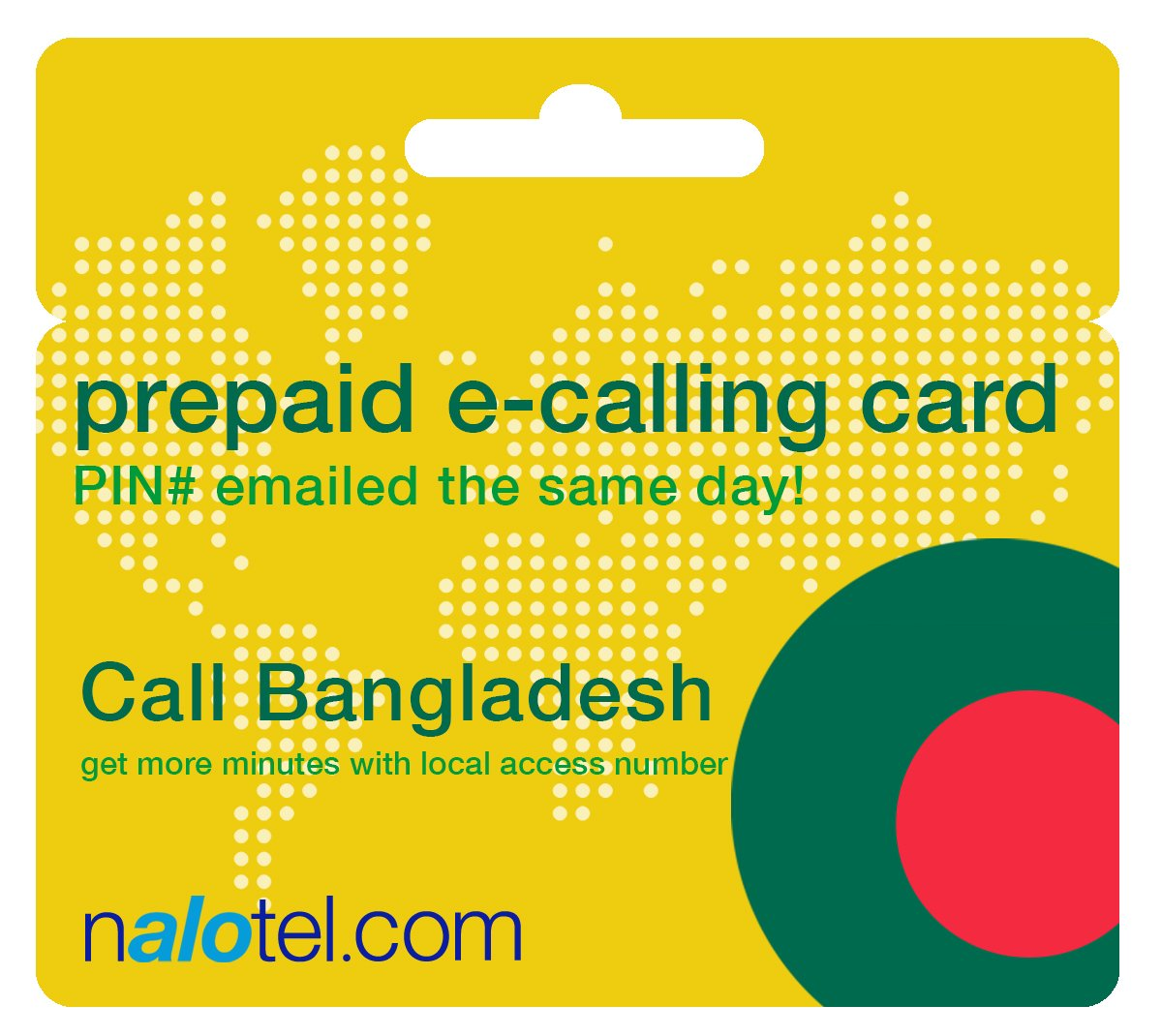 Prepaid Phone Card - Cheap International E-Calling Card $10 for Bangladesh with same day emailed PIN, no postage necessary