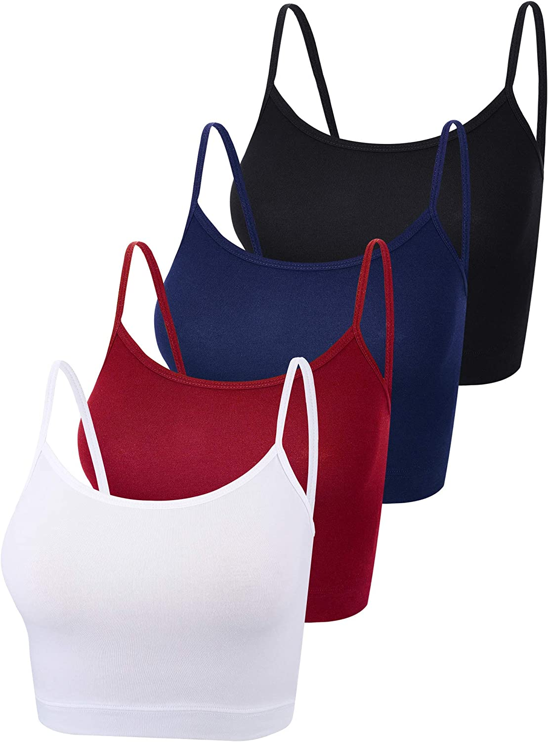 4 Pieces Basic Crop Tank Tops Sleeveless Racerback Crop Sport Cotton Top for Women