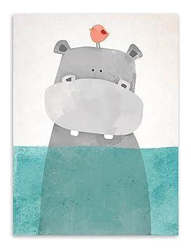 Affiche Enfant Chambre Animaux Hippopotame Tableau Peinture Sur Toile Decoration  Murale Poster Mural Cadeaux Anniversaire NPTWC001