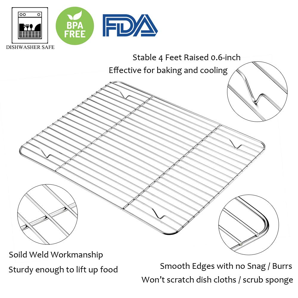 Baking Sheet with Rack Set, E-far Stainless Steel Baking Pans Tray Cookie Sheet with Cooling Rack, 16 x 12 x 1 inch, Non Toxic & Healthy, Rust Free & Dishwasher Safe - 4 Pieces (2 Sheets + 2 Racks) by E-far (Image #4)