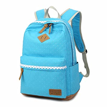 a5230d0bb586 DAN Korean Canvas Printing Backpack Women School Bags for Teenage Girls  Cute Bookbags Vintage Laptop Backpacks Female - Light Blue  Amazon.in  Bags
