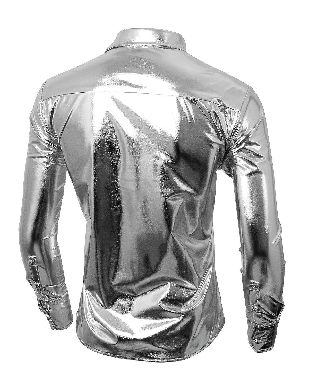 Cusfull Moda Uomo Camicie Maniche Lunghe Bronzare Pulsante Bling Men Shirts Tops Slim Fit Costume Perfetto per Partito Discoteca Nightclub Ballando Halloween Cosplay