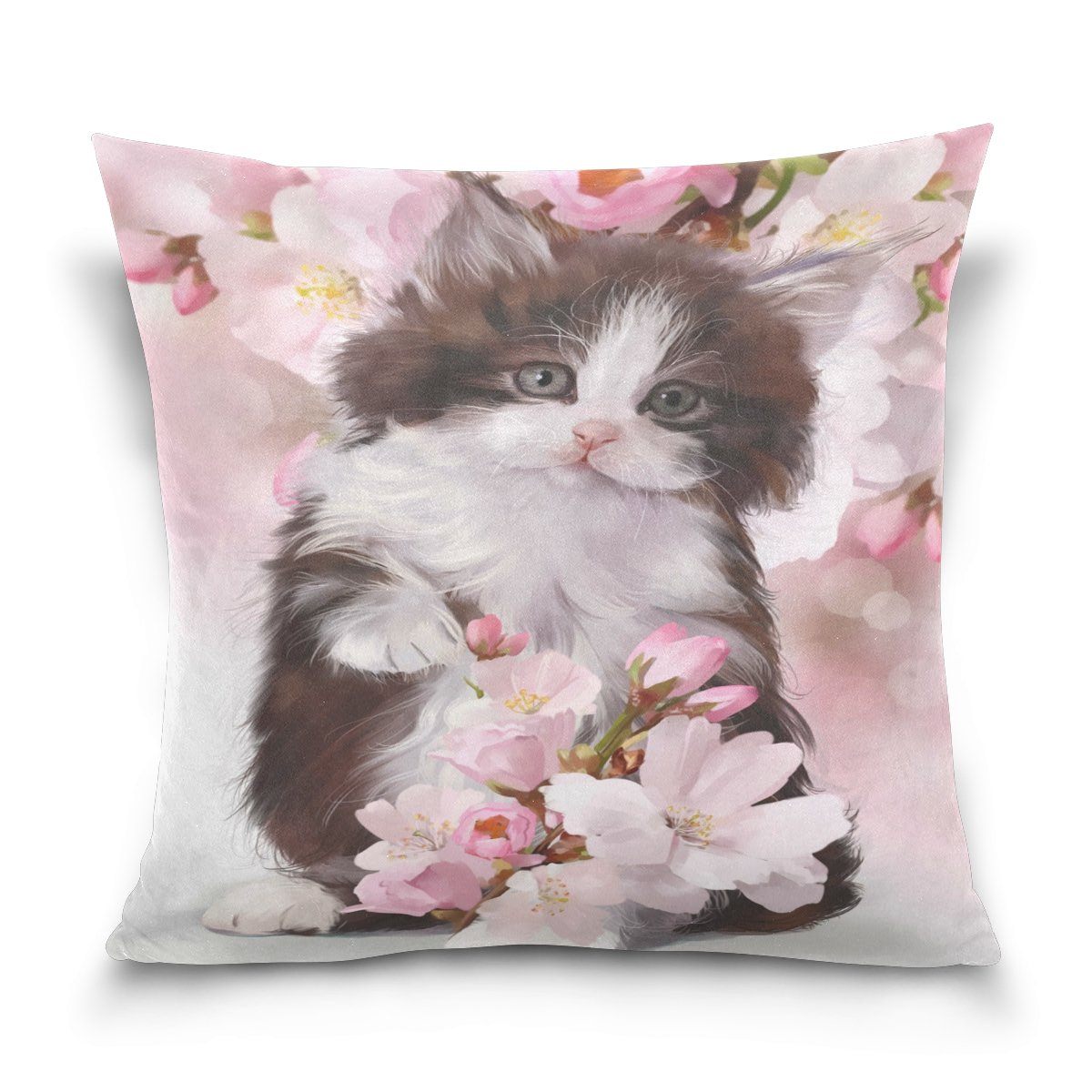 ALAZA Watercolor Kitten Cat Cotton Pillowcase 16 X 16 Inches Twin Sides, Floral Flower Cute Animal Cat Pillow Case Sham Cover Protector Decorative for Home Hotel Couch Ded