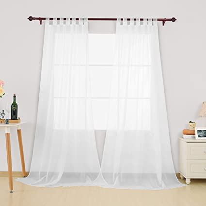 Deconovo Vorhang Transparent Gardinen Transparent Schlaufenschal Transparent 138x140 cm Weiß 2er Set
