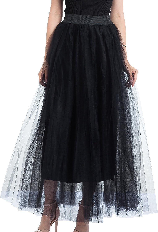 FOLOBE Donna Primavera//Estate A-Line Elasticated Waist Layered Long Tutu Tulle Skirt