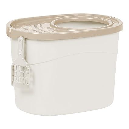 Amazoncom IRIS Top Entry Cat Litter Box with Scoop WhiteBeige