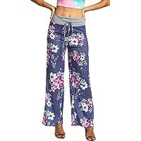Femme Pantalon Taille Haute Chic Elegant Slim Grande Taille ete Floral Imprimé Yoga Loose Pantalon Jambes Larges