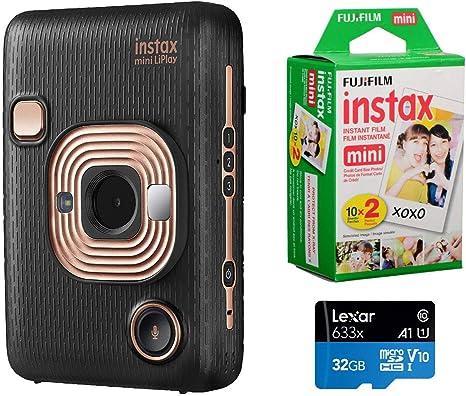 Fujifilm Instax Mini Liplay Cámara híbrida instantánea (Elegant Black), Paquete Instax Mini Instant Daylight Film, Twin Pack (20 Exposures), Tarjeta MicroSD de 32 GB: Amazon.es: Electrónica