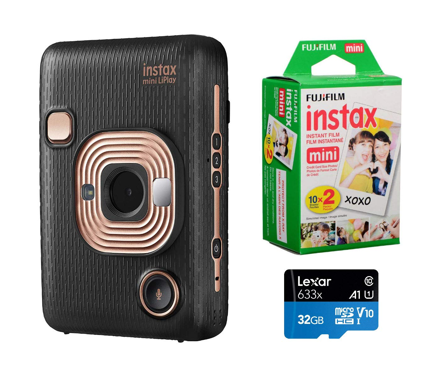 Fujifilm Instax Mini Liplay Hybrid Instant Camera (Elegant Black), Bundle Instax Mini Instant Daylight Film, Twin Pack (20 Exposures), 32GB MicroSD Card by Fujifilm