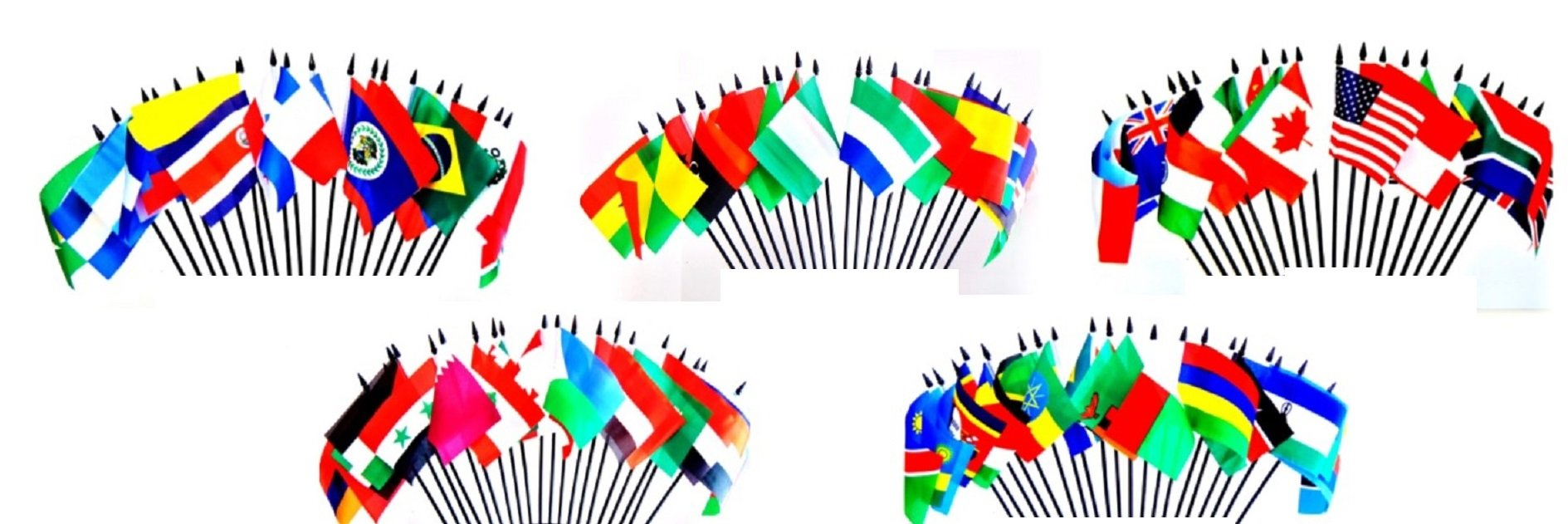 100 World Flag SET-100 Polyester 4''x6'' Flags, One Flag for 100 Popular International Olympic and World Cup Countries, 4x6 Miniature Desk & Table Flags, Small Mini Stick Flags