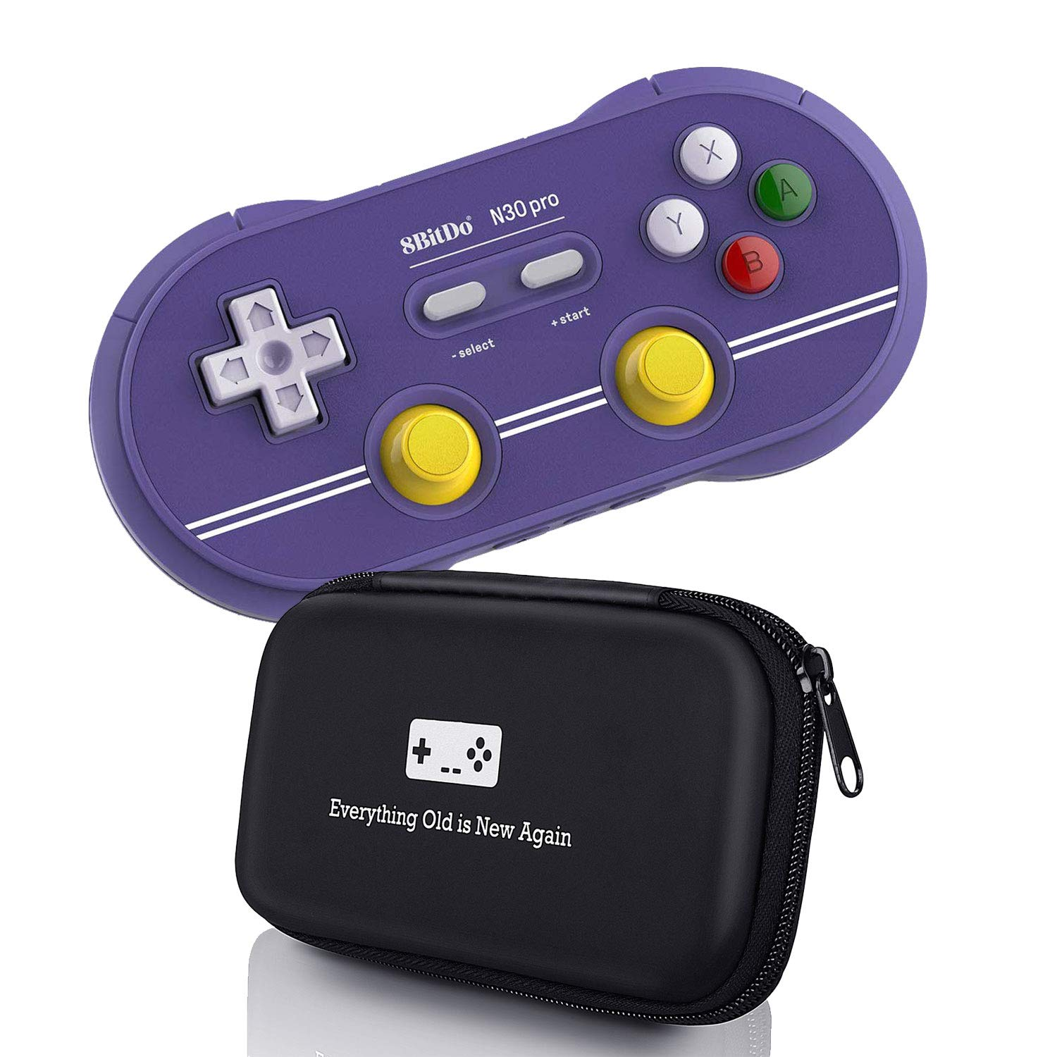 Geek Theory 8Bitdo N30 Pro 2 Controller Bundle (C Edition) - Includes BONUS Carrying Case - Updated 2018 Version - Android/Mac/PC/Switch/NES and SNES Classic