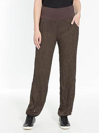 code promo 3c0fb 130c2 Celaia - Pantalon en tissu froissé, ceinture maille - Taupe ...