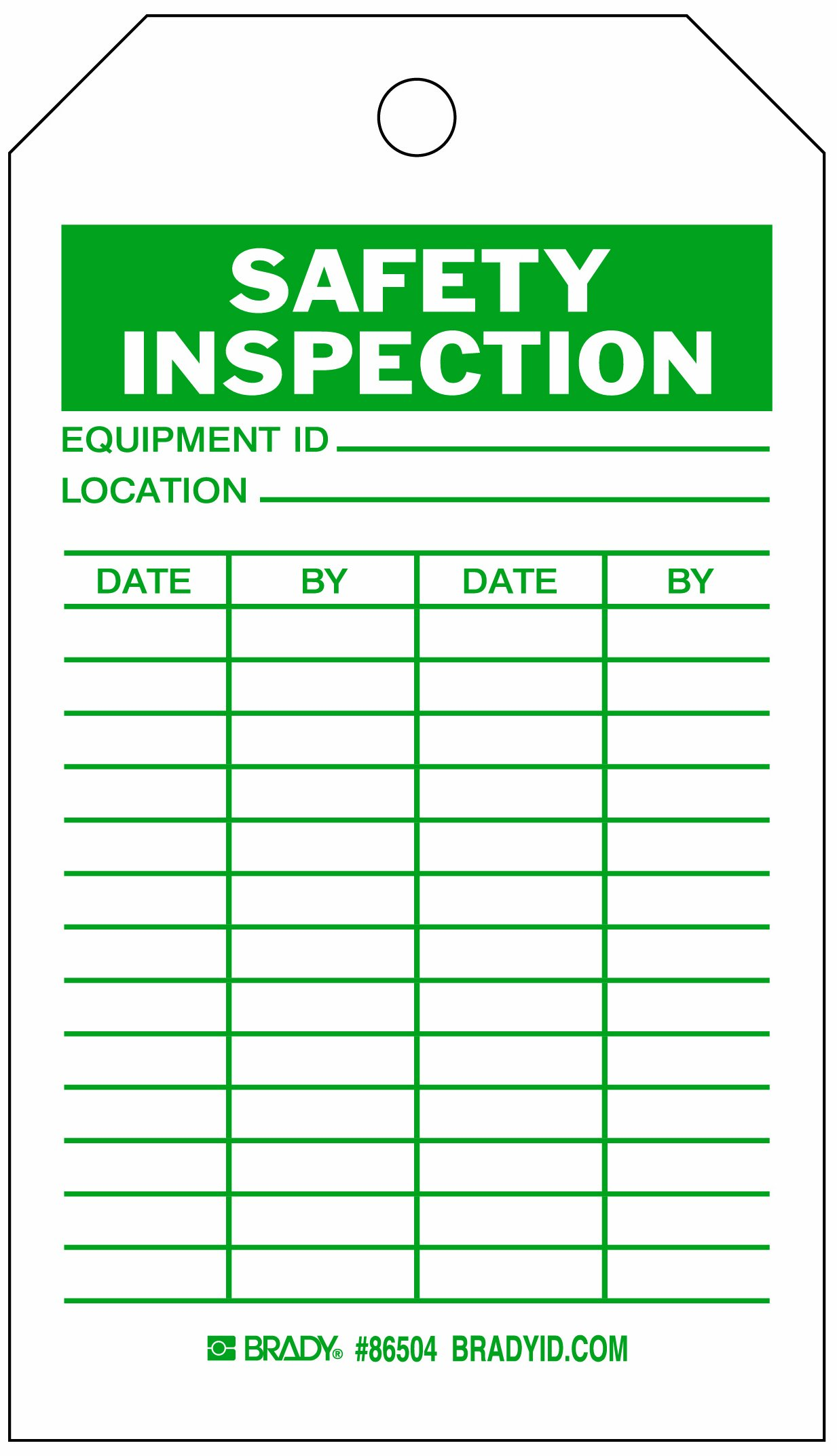 Brady  86504 7'' Height x 4'' Width, Heavy Duty Polyester (B-837), Green on White Safety Inspection Tags (10 Tags) by Brady