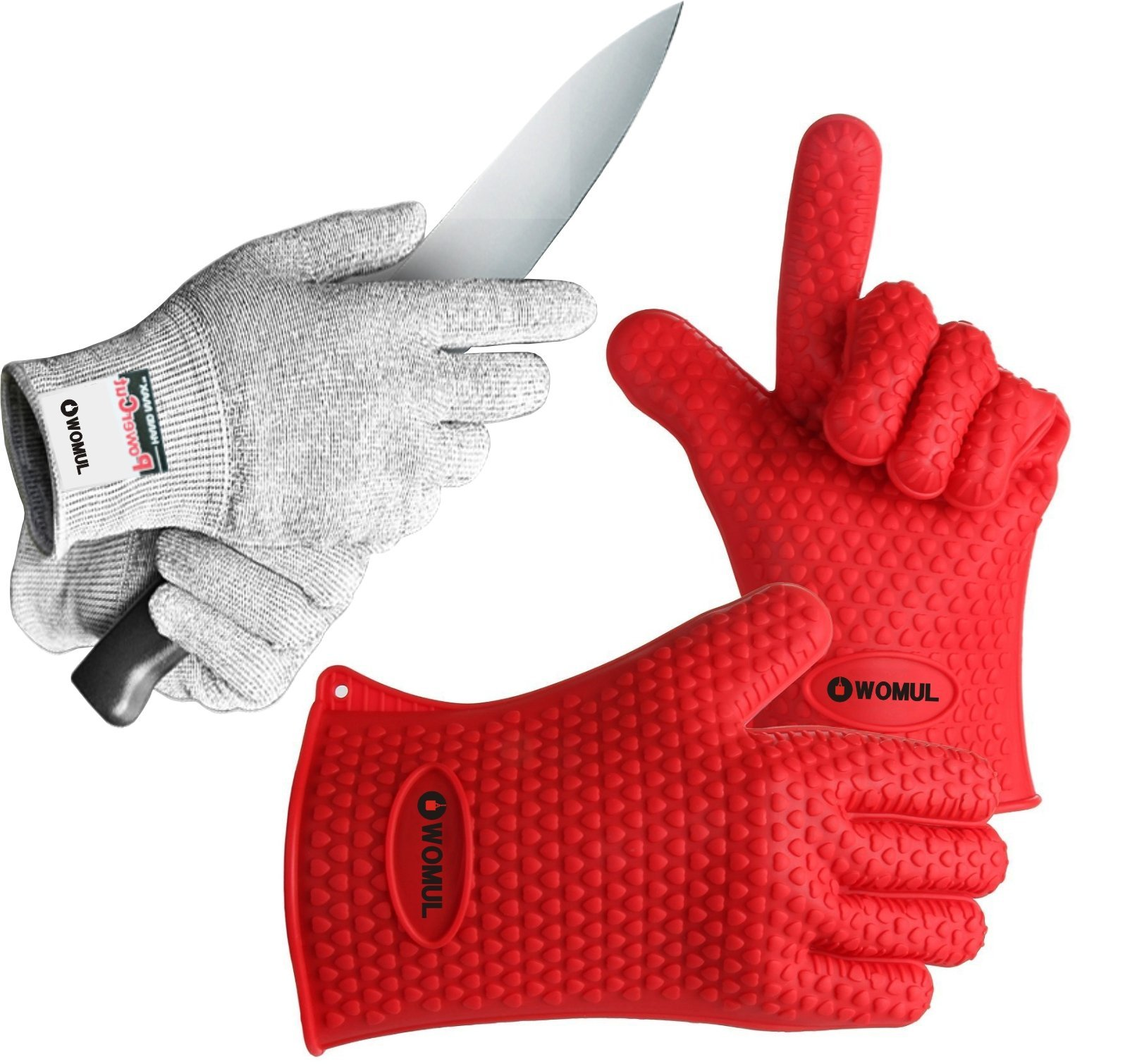 WOMUL Safety gloves set ( heat resistant bbq silicone gloves + cut resistant gloves) (RED + GRAY)