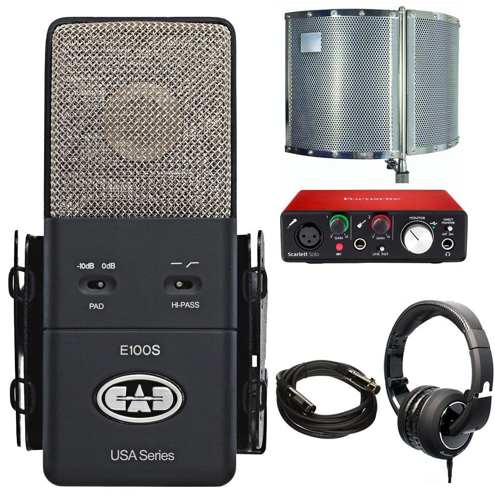 CAD Audio Large Diaphragm Supercardioid Condenser E100S Microphone Acoustic Enclosure Closed-Back Studio Headphones + Focusrite Scarlett Solo USB Audio Interface (2nd Gen)