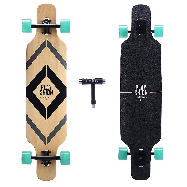 Playshion Drop Through Freestyle Longboard Skateboard Cruiser