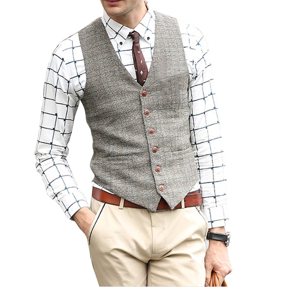 Zicac Men's Unique Advanced Custom Vest Skinny Wedding Dress Waistcoat, Light Gray, Medium