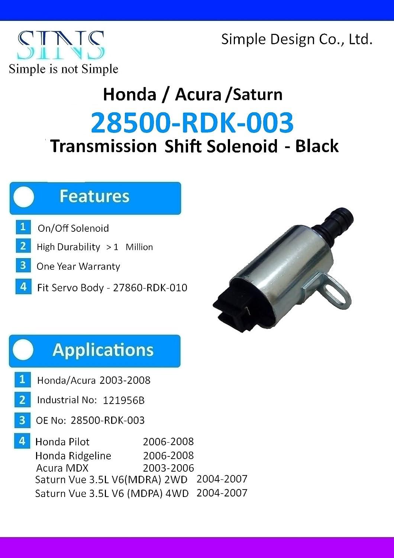 Honda Pilot Ridgeline Acura Mdx Saturn Vue 35l V6 Transmission Rebuild Solenoid Kit4pcs Set 28400 Rdk 003 28500 With Gasket And Wire Harness