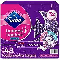 Saba Buenas Noches Con Alas; Toallas Femeninas Nocturnas Xl, Flujo Súper Abundante; 48 Toallas