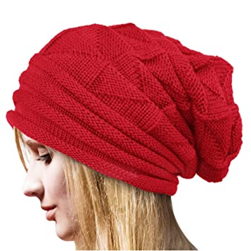Women Girls Trendy Warm Chunky Soft Marled Cable Knit Slouchy Beanie  Oversized Baggy Ponytail Messy Bun b7f304cfc1f