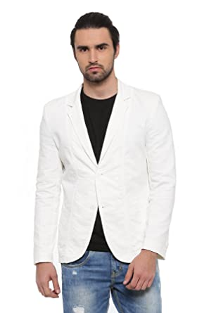 c50450fae6128 SHOWOFF Men's White Solid Casual Blazer: Amazon.in: Clothing ...