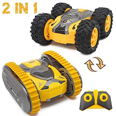 Fistone Remote Control Stunt Car 2.4G 4WD RC Crawler Truck, Track and Wheel Interchange 360 Degree Rotating Climbing Racing Off-Road Vehicle Toys for Boys Kids Age 6 8 10 12 Years Old: Toys & Games