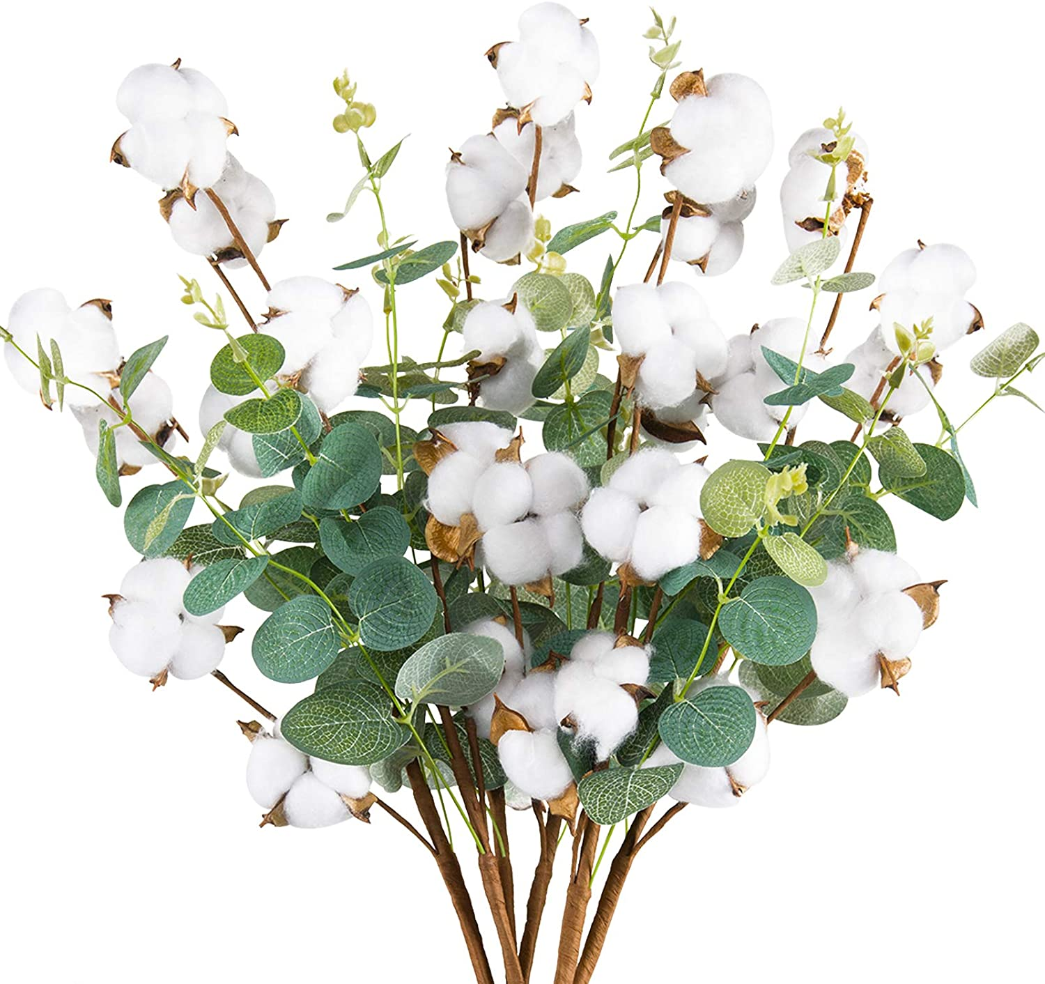 Miracliy 6 PCS Cotton Stems Decor with Eucalyptus Leaves 4 Cotton Heads for Farmhouse Style Floral Decorations 20""