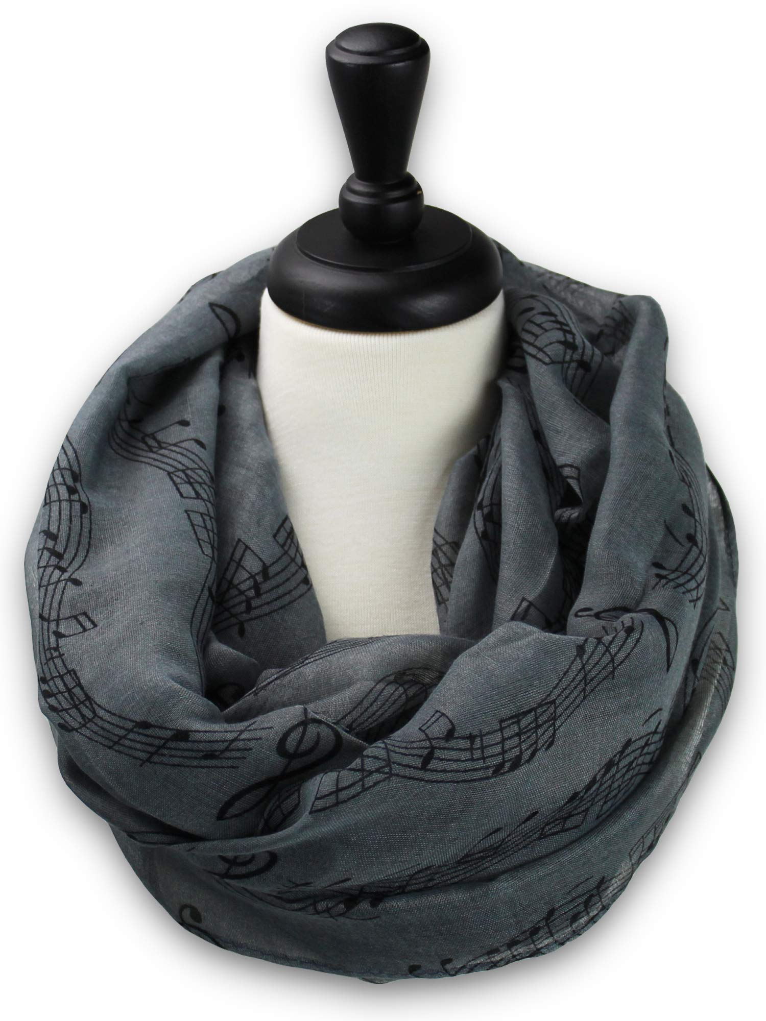 KnitPopShop Music Note Infinity Loop Scarf for Women in the Summer (Grey)