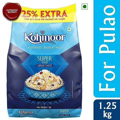 Kohinoor Super Value Basmati Rice, 1kg (with Free 25% Extra)
