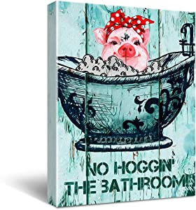 Funny Bathroom Decor Wall Art Canvas - Vintage Farm Pig Sign Canvas Wall Art for Restroom/Toilet/Bathroom/Home Decor - Retro Farmhouse Canvas Print Wall Art Painting Ready to Hang Home Decoration Gifts 11.5x15 Inch