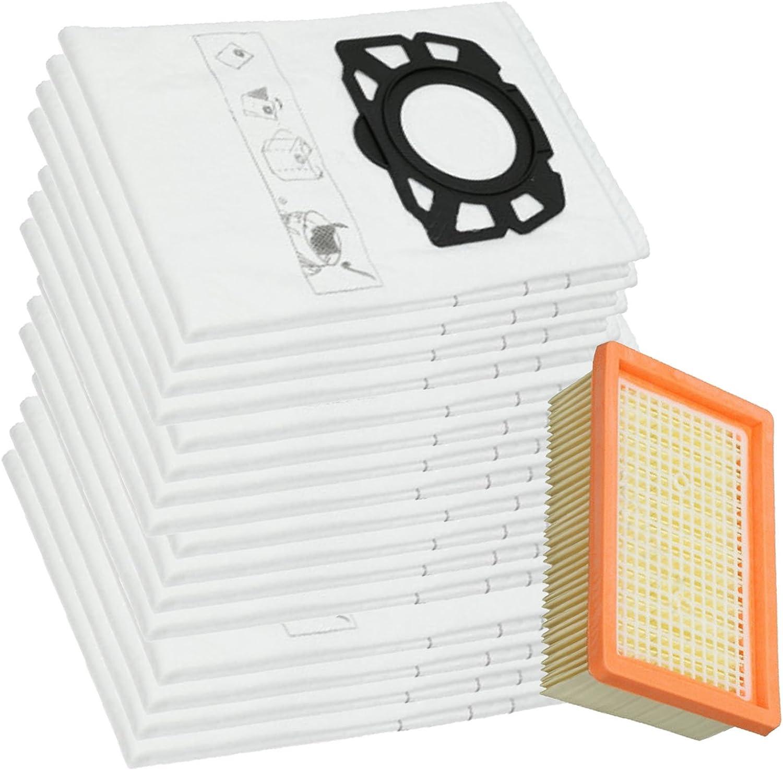 Spares2go Filtro plisado y 16 bolsas de polvo para aspiradora Karcher WD4 WD5 WD6: Amazon.es: Hogar