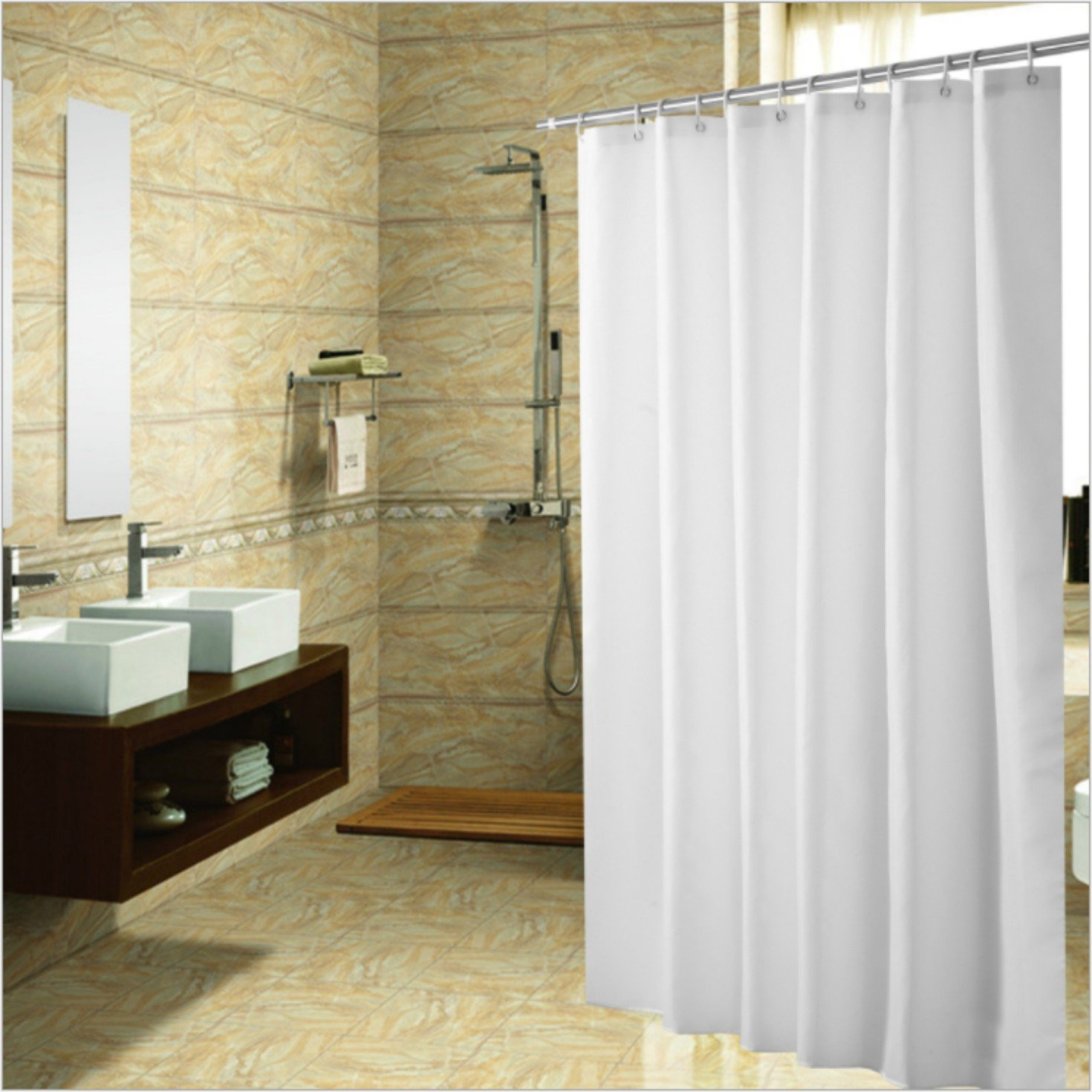 Meccion Shower Curtain, Resistant Fabric Shower Curtain Lock Hole Heavy Duty Bathroom Curtain Liner, Mildew Resistant Washable Polyester Fabric Shower Curtain (40 x 72)