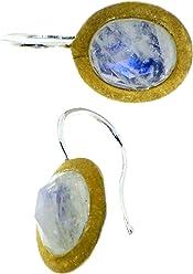 Ohrringe Sterlingsilber mit facettierten Regenbogenmondsteinen 10x8mm