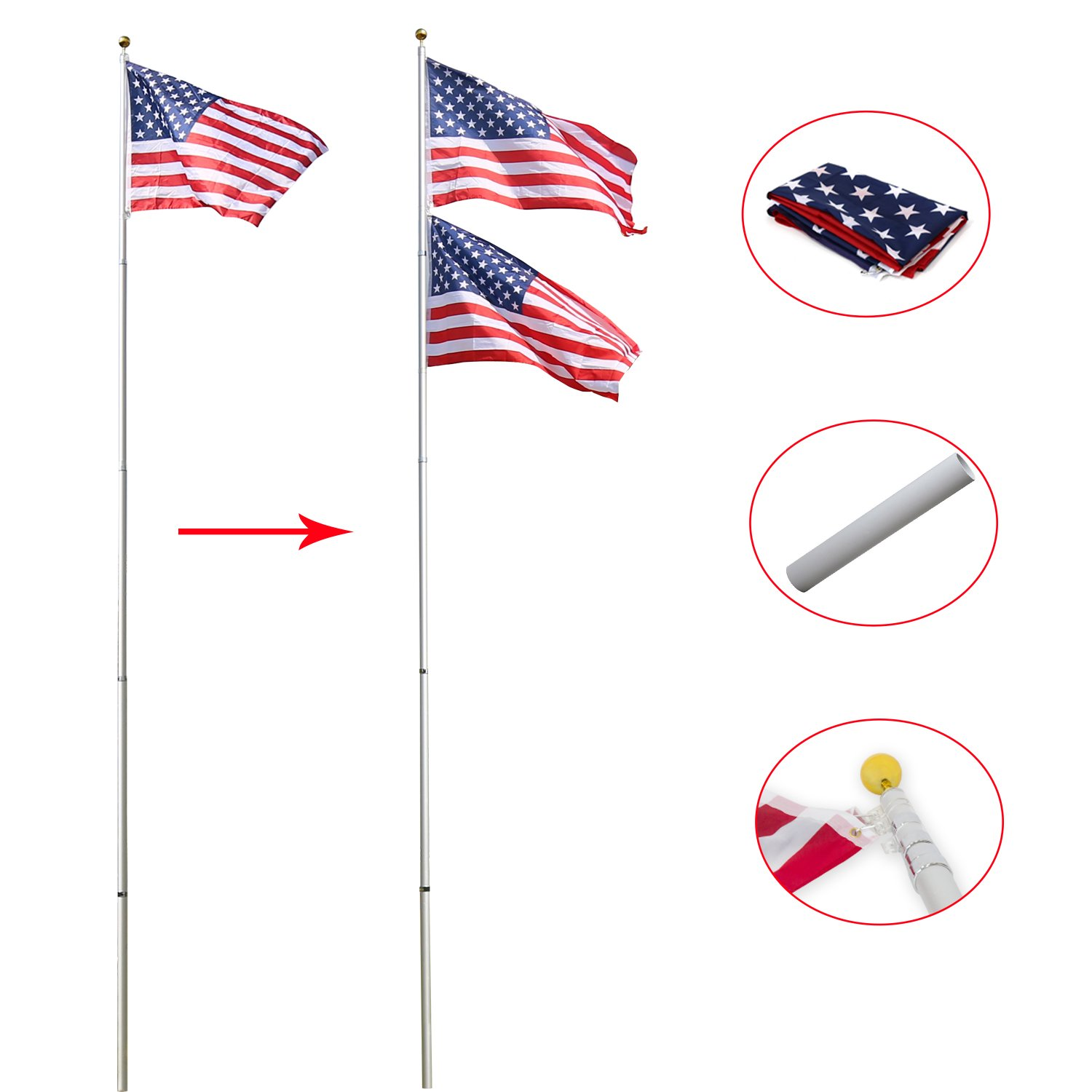 Peach Tree Basic Portable Commercial Flag Pole Outdoor Garden Construction Heavy Duty Aluminum Alloy with two USA flags, Silver (16ft)