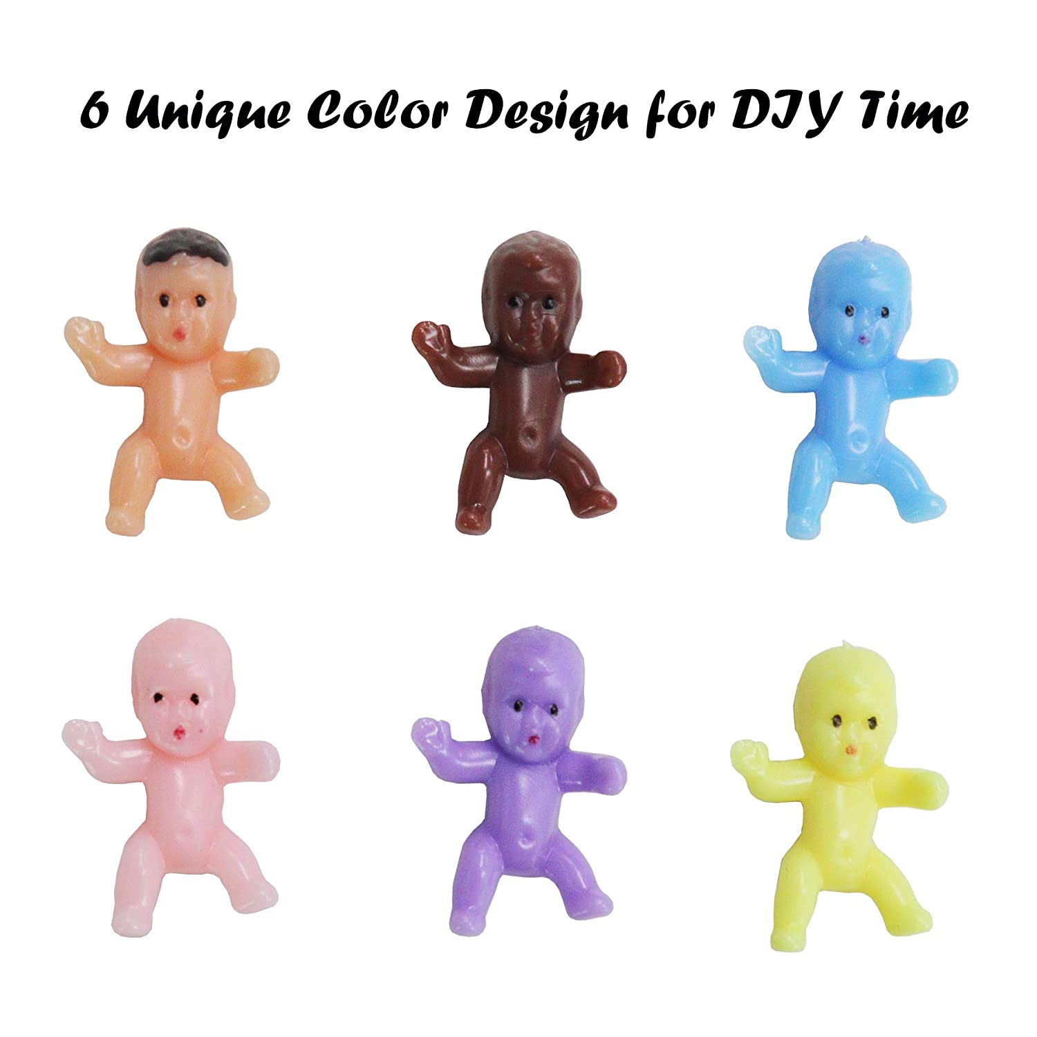 120 Pcs Mini Plastic Babies 6 Colors Mini Baby Dolls for Ice Cubes Baby Shower Party Decorations Baby Bathing and Crafting 1 Inch