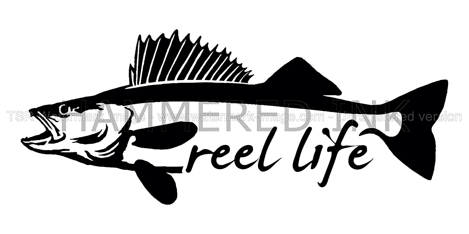 Reel life walleye fish die cut vinyl car decal window sticker amazon ca office products