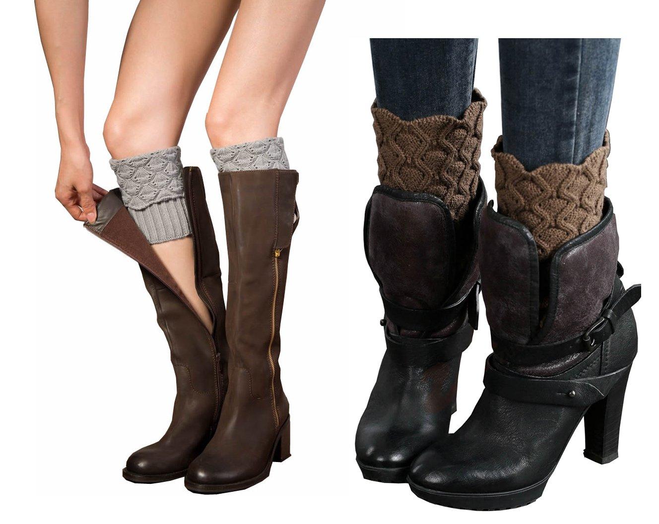 Women Winter Leg Warmer Cozy Soft Crochet Knit Boots Cuffs by Secret Life (2 Pair Light Grey / Light Brown)