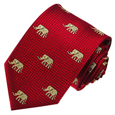 e54a269a330e LORENZO CANA - Luxury Italian 100% Silk Neck Tie Red Gold Elephants  Patterned - 84102 at Amazon Men's Clothing store: Neckties