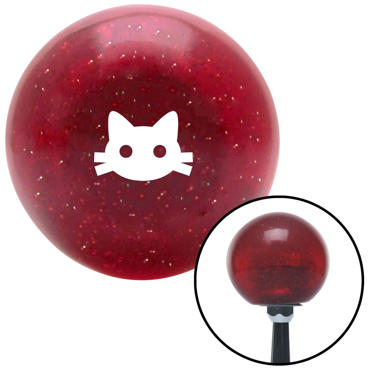 American Shifter 282036 Shift Knob White Cat Silhouette 2 Red Metal Flake with M16 x 1.5 Insert