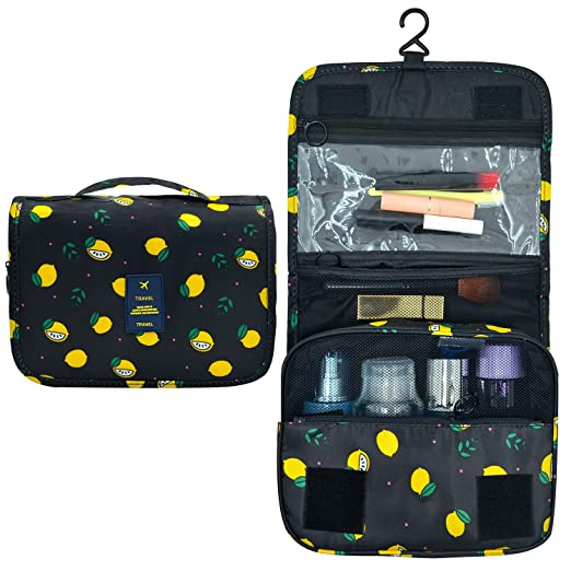4d49f59d17a48 Amazon.com  Portable Hanging Travel Toiletry Bag Waterproof Makeup  Organizer Cosmetic Bag Pouch For Women Girl (Black-Lemon)  EPQUEEN