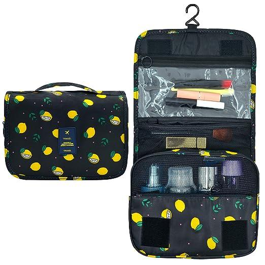 2fced51c996e Amazon.com  Portable Hanging Travel Toiletry Bag Waterproof Makeup  Organizer Cosmetic Bag Pouch For Women Girl (Black-Lemon)  EPQUEEN